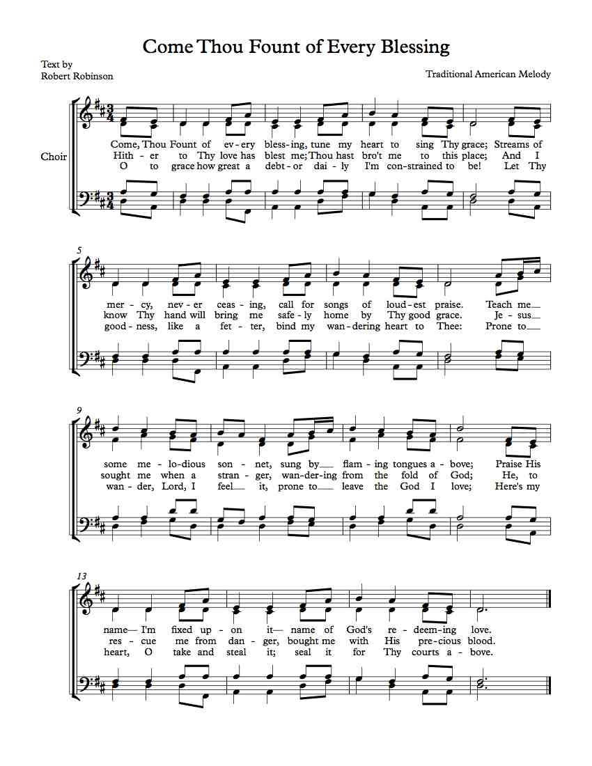 Free Sheet Music For Choir Come Thou Fount Of Every Blessing
