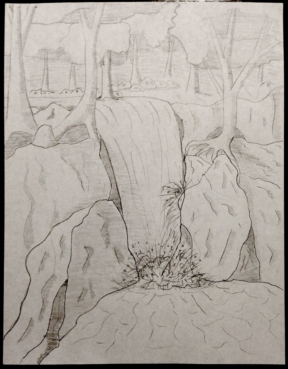 Drawing No. 2 – Waterfall in the Forest