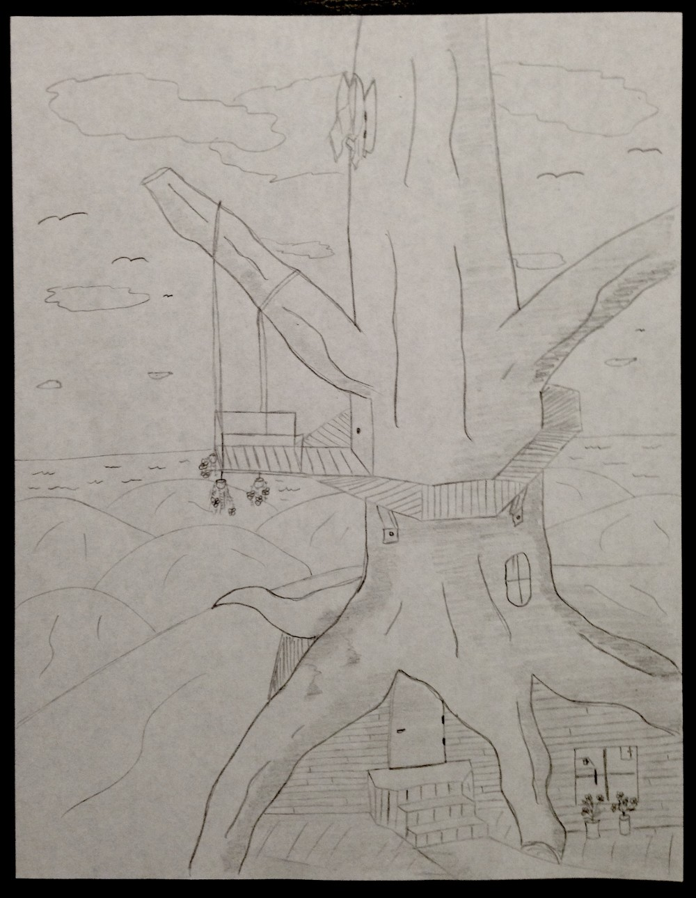 Drawing No. 3 – Failed Treehouse by the Ocean