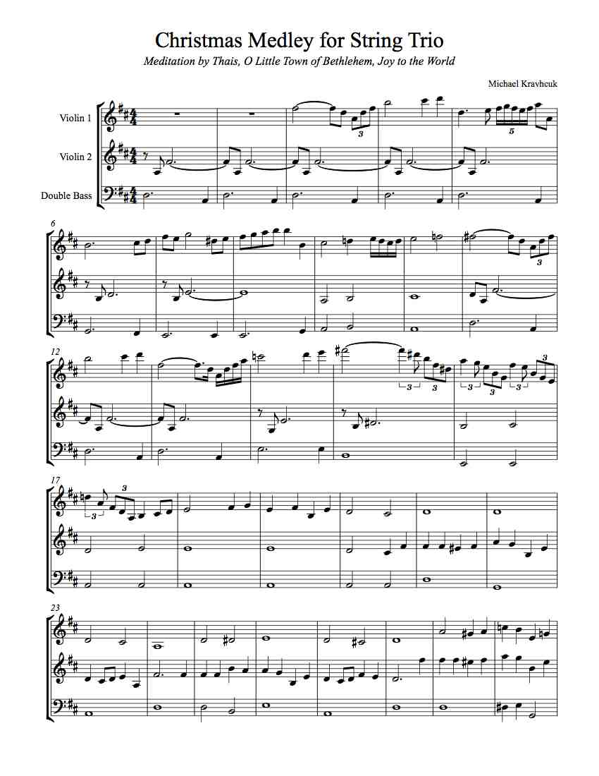 Free Sheet Music - Christmas Medley For Two Violins and Double Bass ...