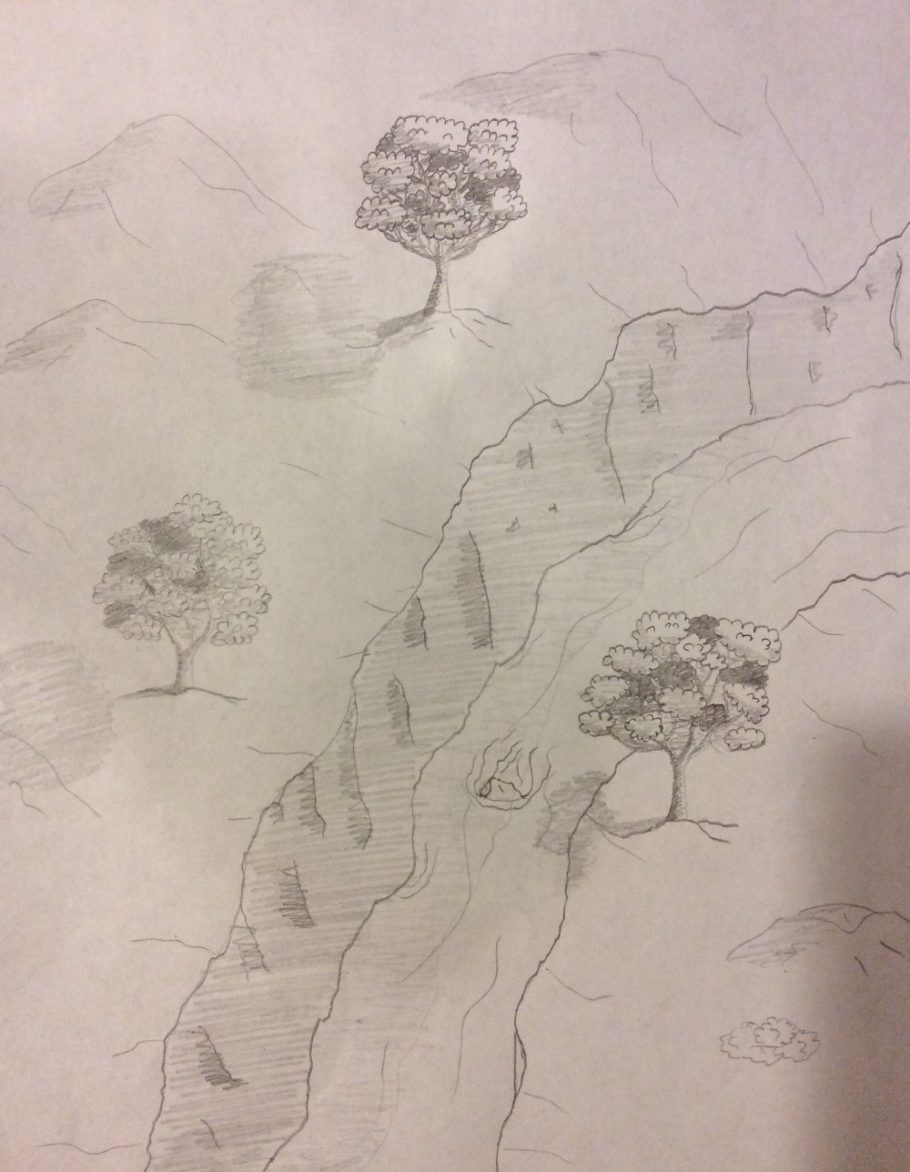 Drawing No. 7 – Trees by a Cliff