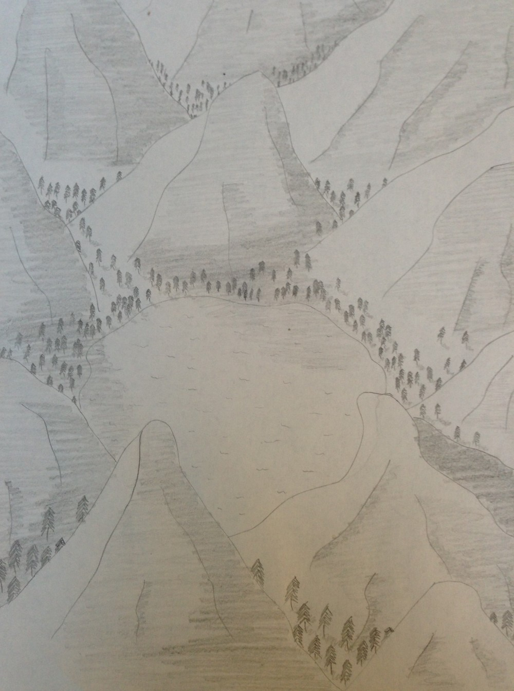 Drawing No. 13 – Lake in the Mountains
