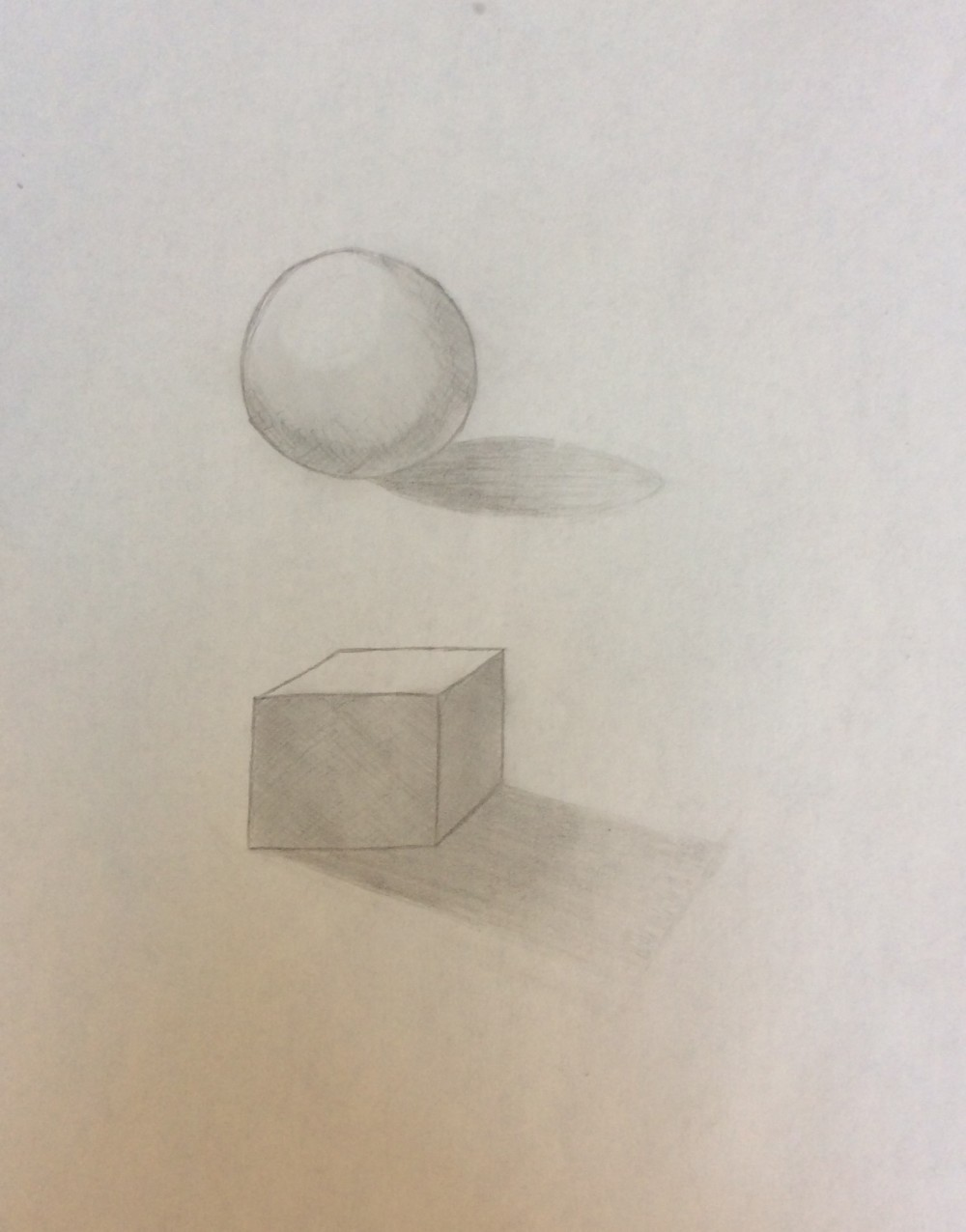 Drawing No. 8 – A Ball and a Square with Shadows
