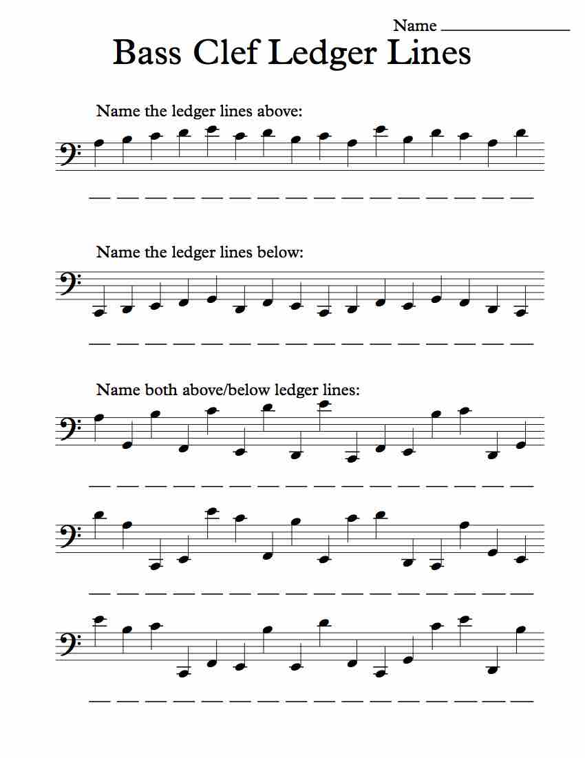 bass clef ledger lines  u2013 worksheet  u2013 michael kravchuk