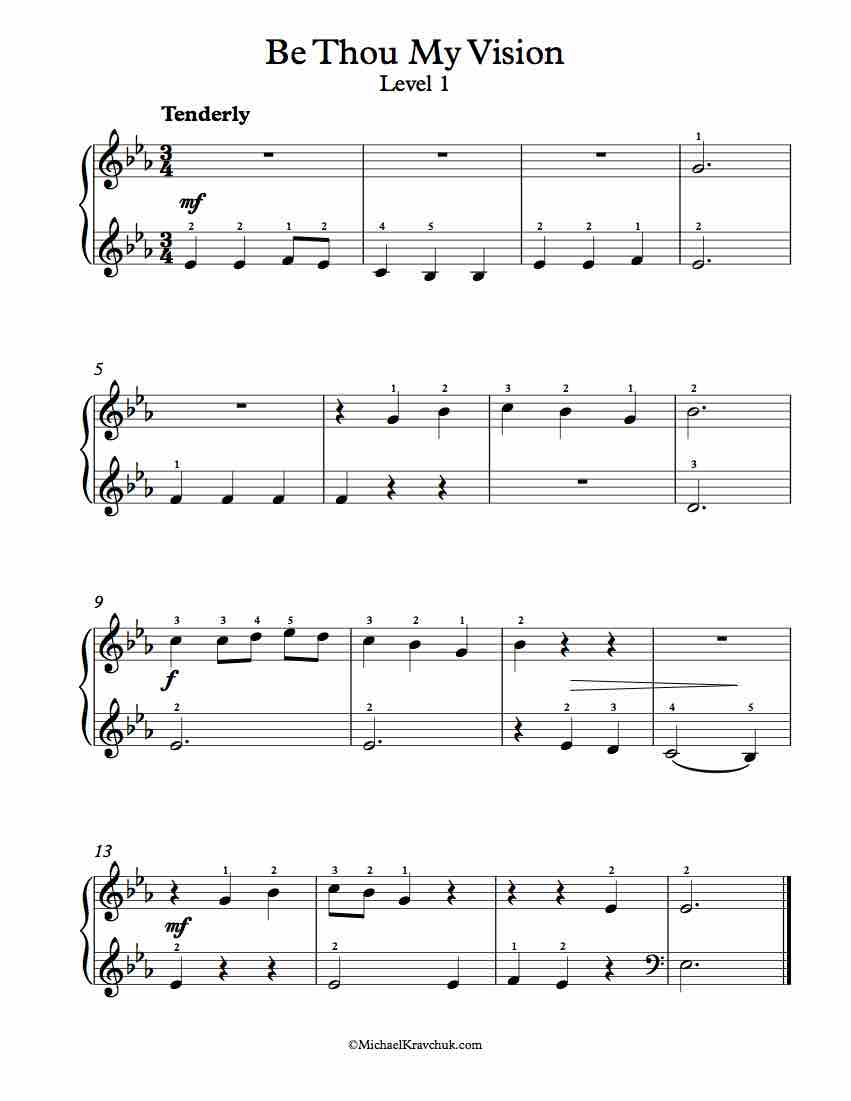 Level 1 - Free Piano Arrangement Sheet Music - Be Thou My Vision