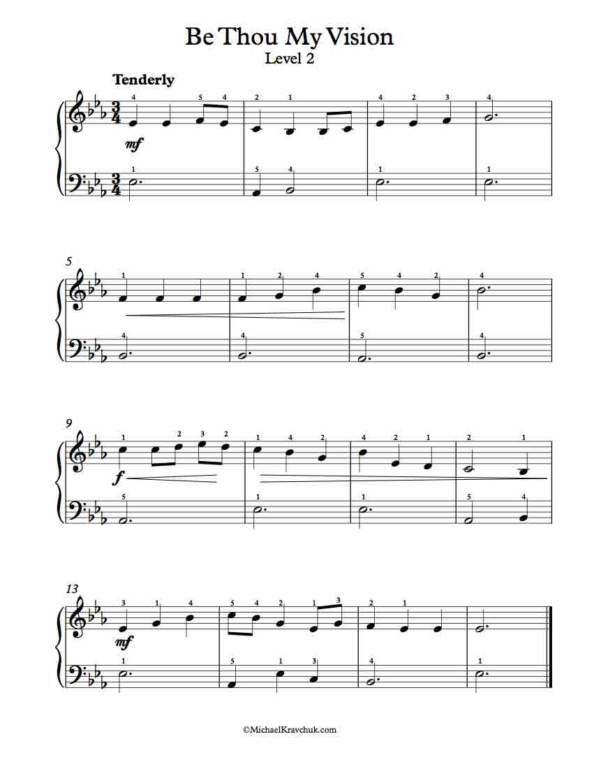 Level 2 - Free Piano Arrangement Sheet Music - Come Thou Fount of Every Blessing