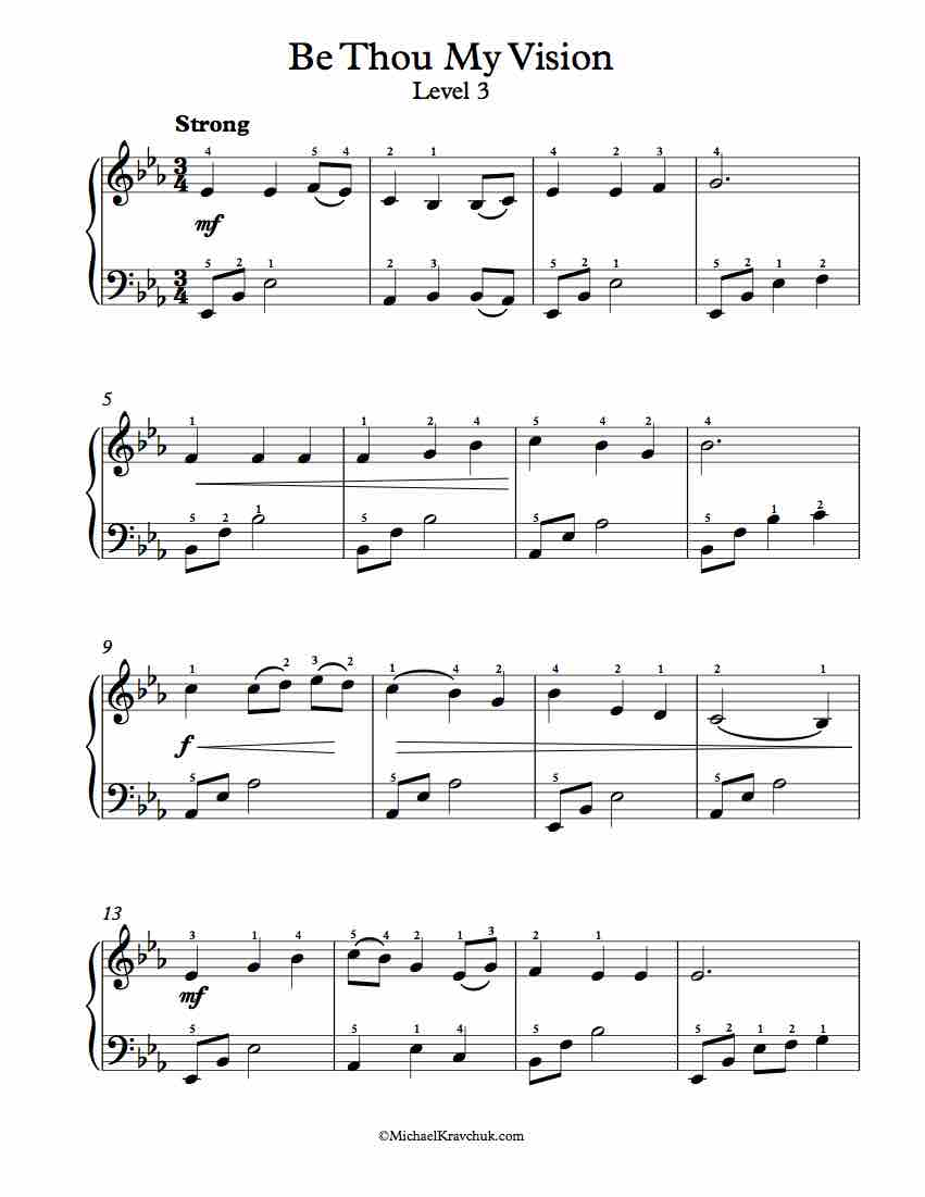 Level 3 - Free Piano Arrangement Sheet Music - Come Thou Fount of Every Blessing