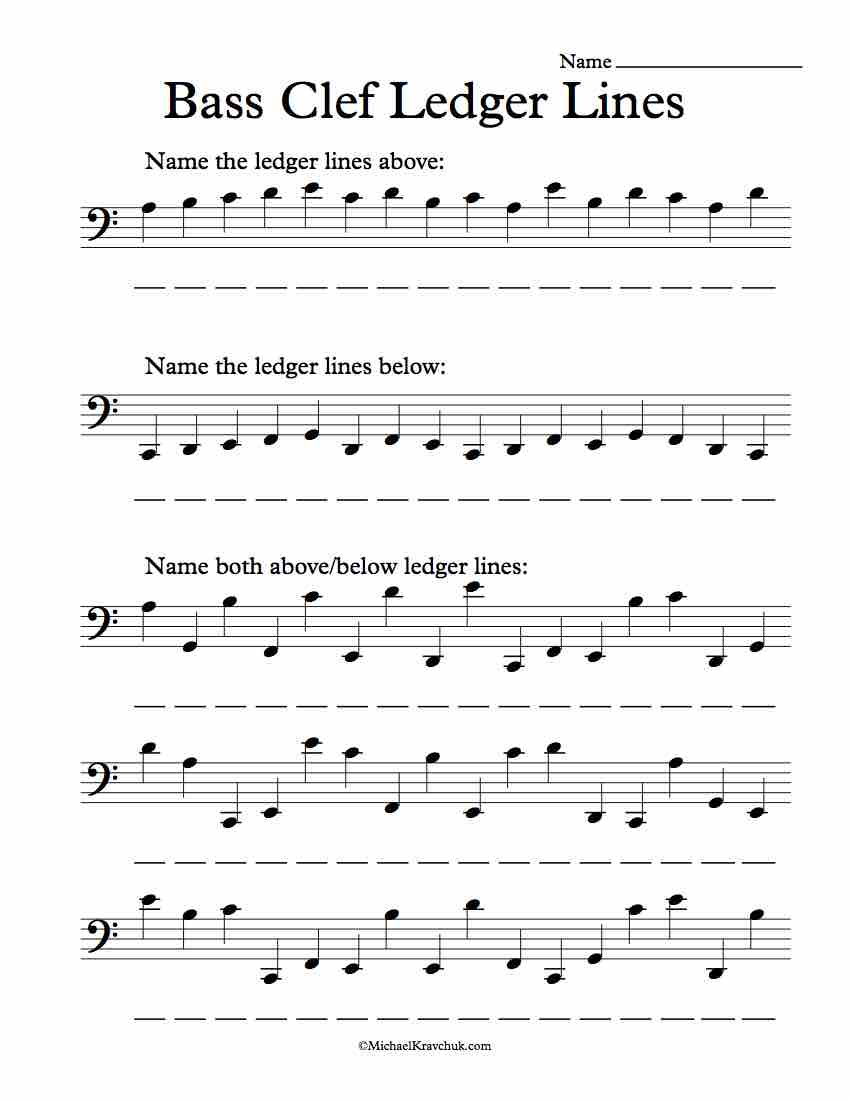 Bass Clef Ledger Lines Only – Note Recognition Worksheet