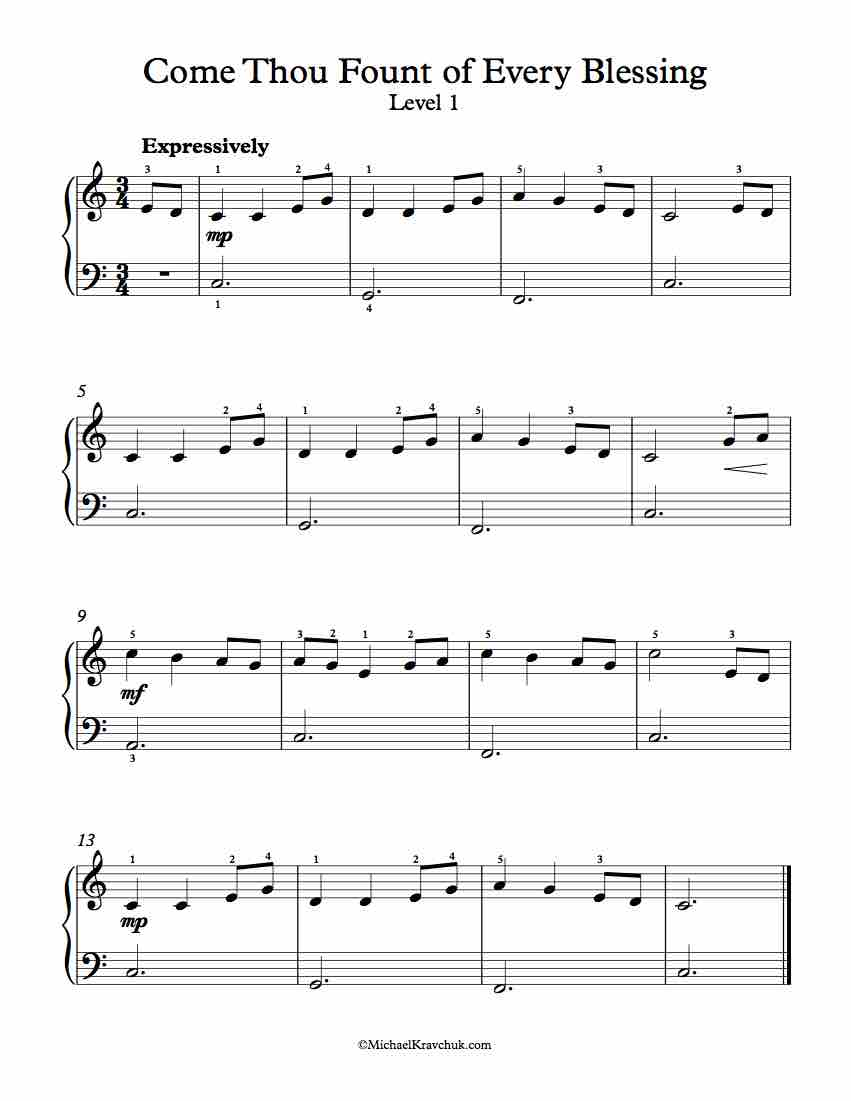 Level 1 - Free Piano Arrangement Sheet Music - Come Thou Fount of Every Blessing