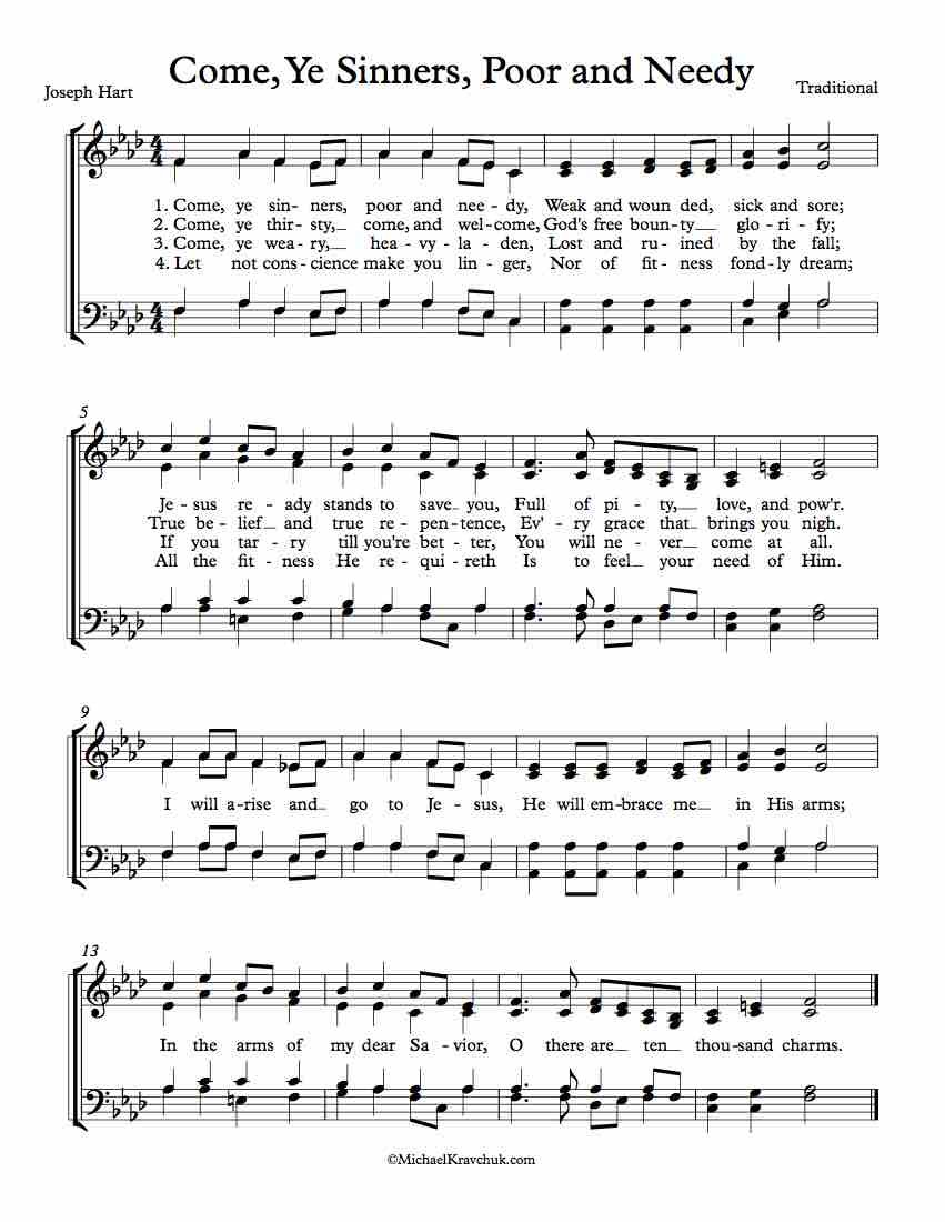 Free Choir Sheet Music - Come, Ye Sinners, Poor and Needy