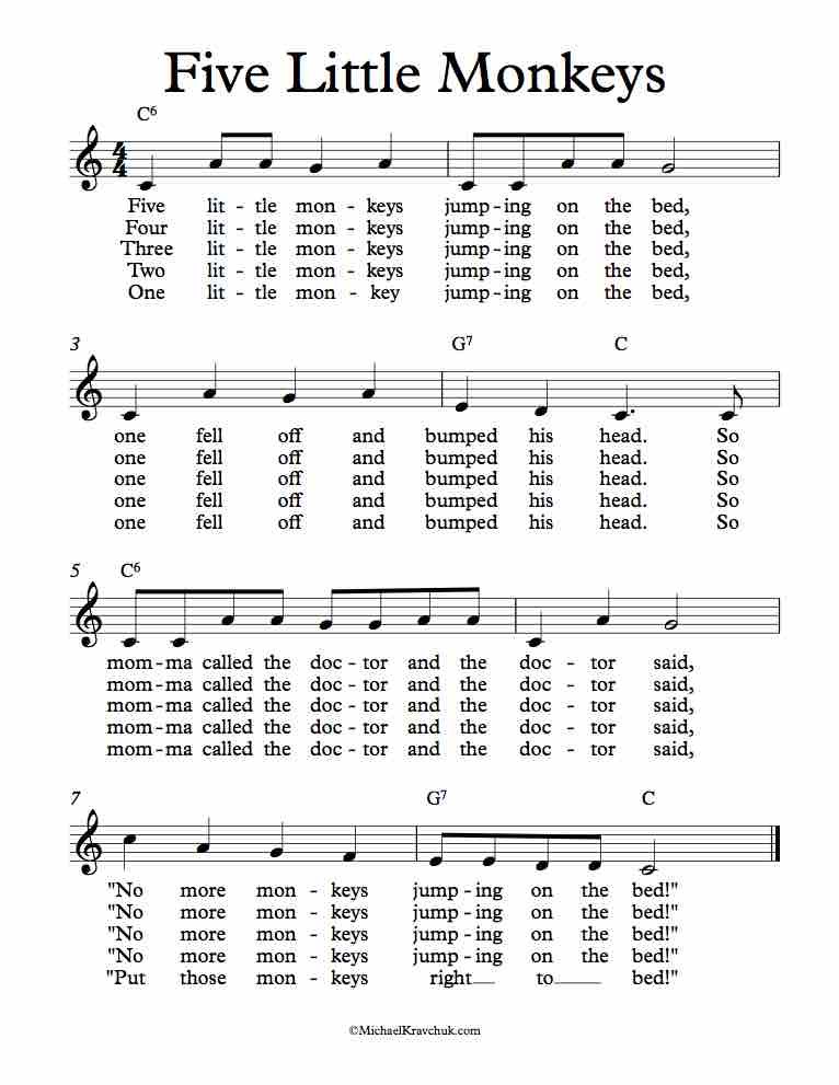 Free Lead Sheet Five Little Monkeys