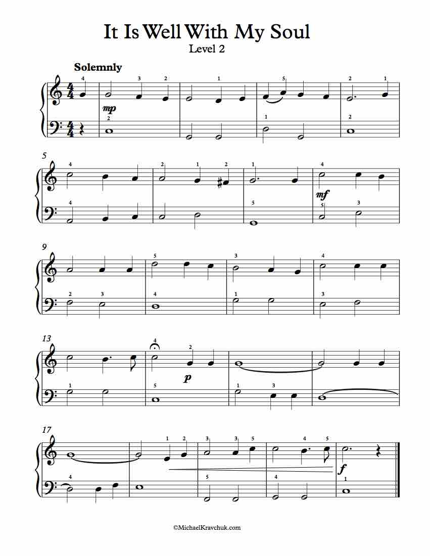 Level 2 - Free Piano Arrangement Sheet Music - It Is Well With My Soul