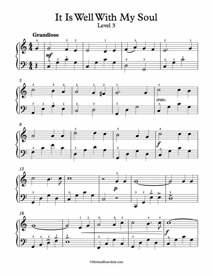 free piano arrangement sheet music – it is well with my soul图片
