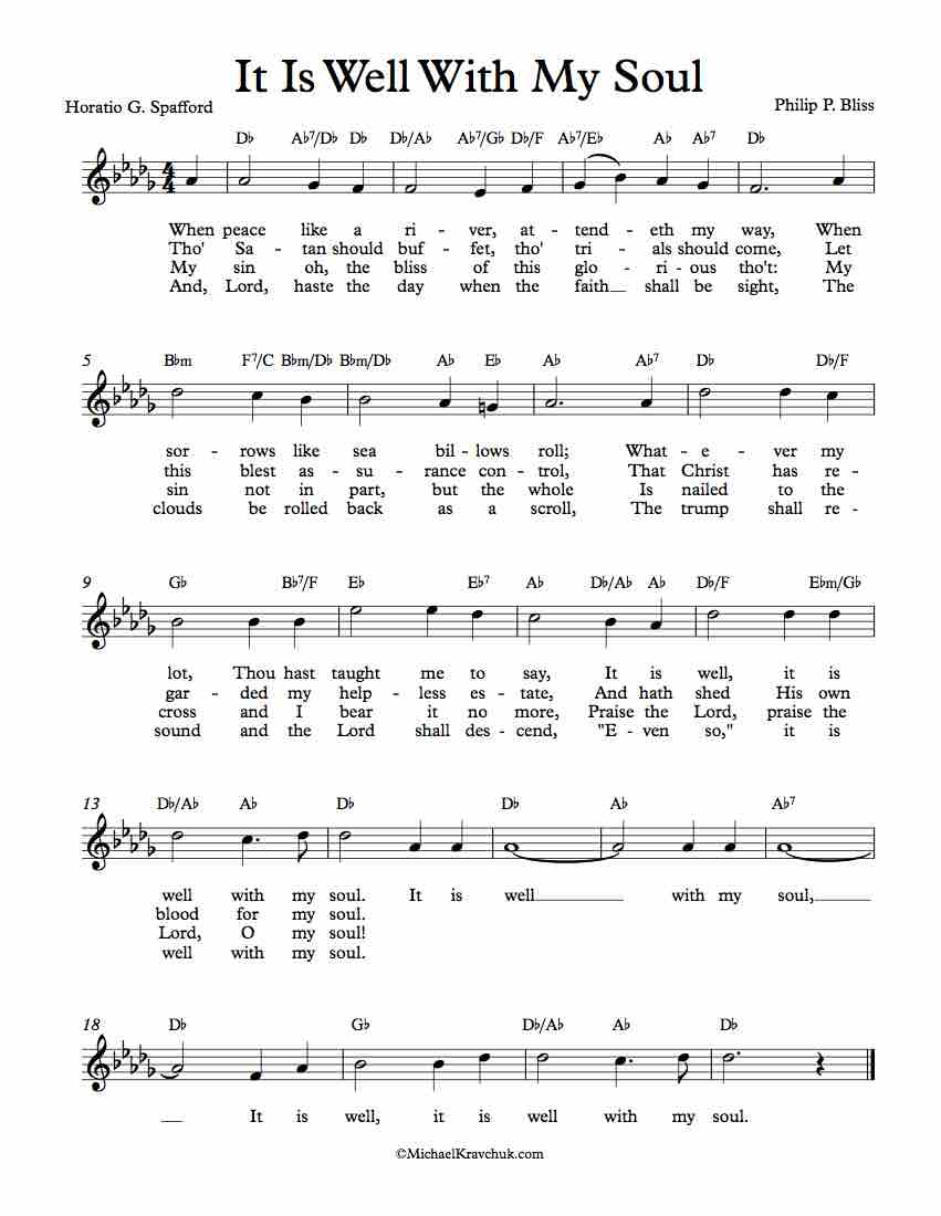 Free Lead Sheet - It Is Well With My Soul