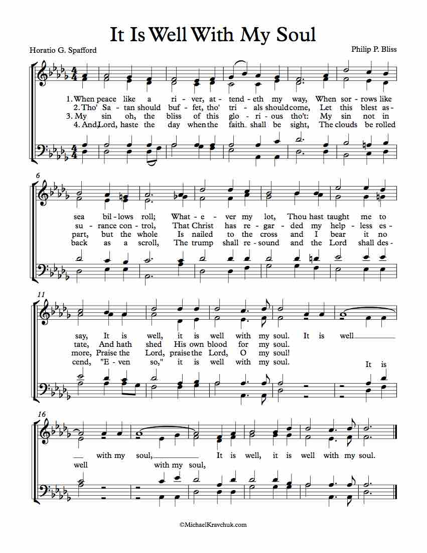 Free Choir Sheet Music - It Is Well With My Soul