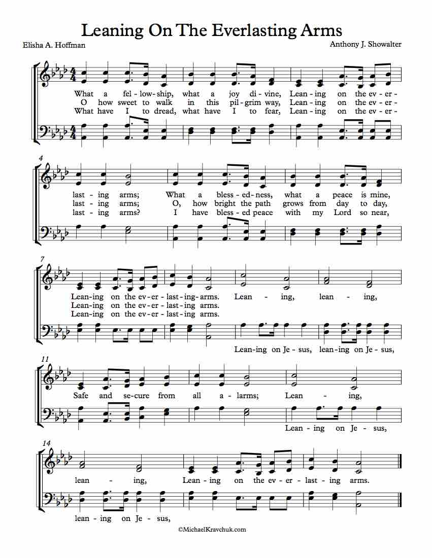 Free Choir Sheet Music - Leaning on the Everlasting Arms