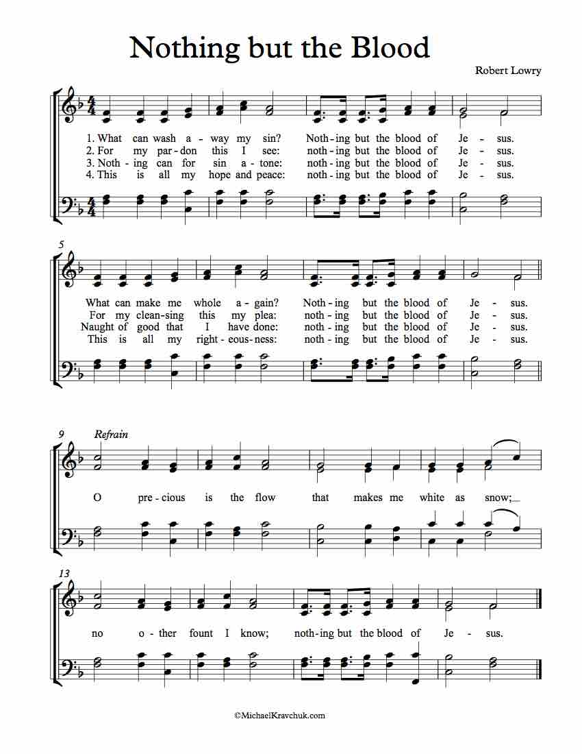 picture about Free Printable Black Gospel Sheet Music called Free of charge Choir Sheet Audio Very little nonetheless the Blood Michael