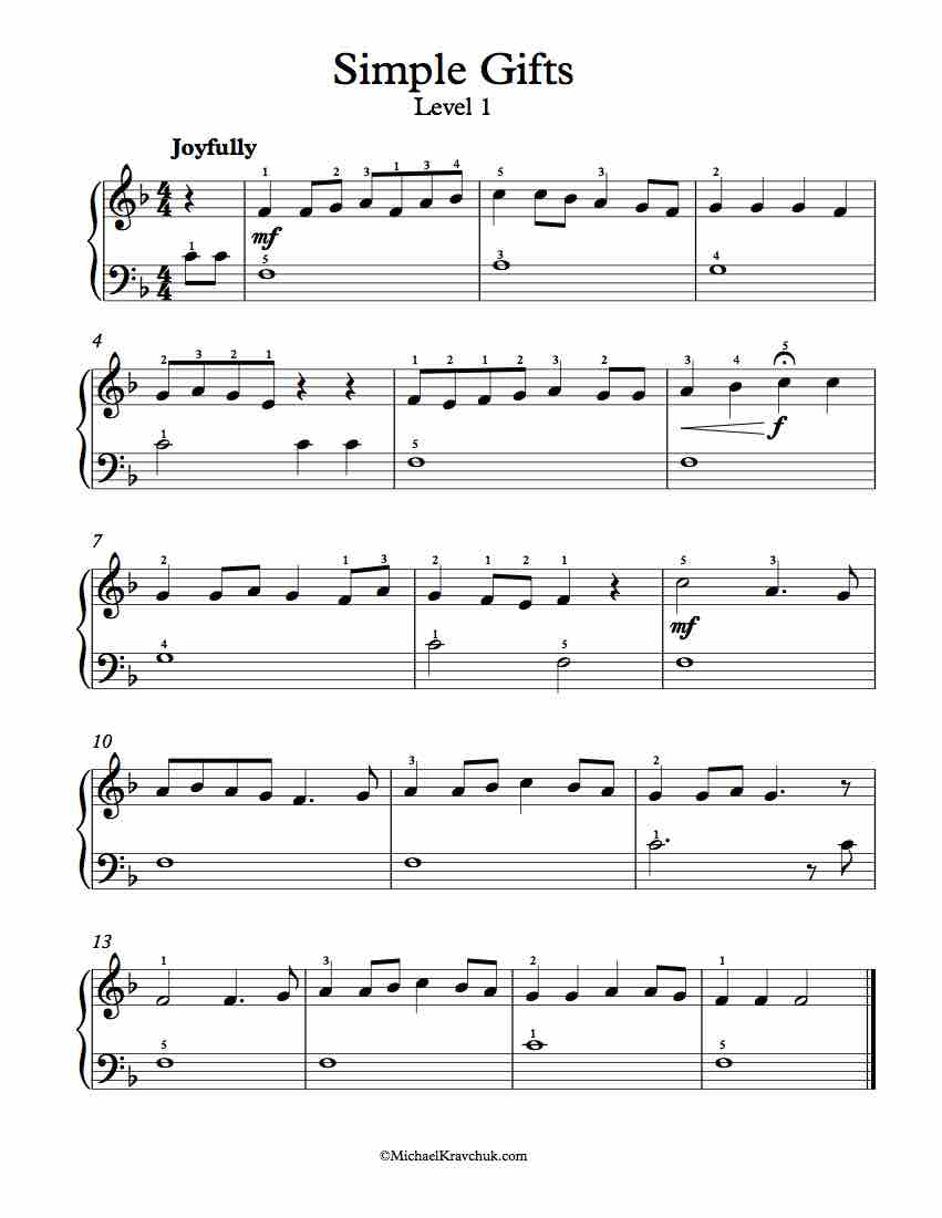 free easy piano sheet music pdf free piano arrangement sheet simple gifts 14695