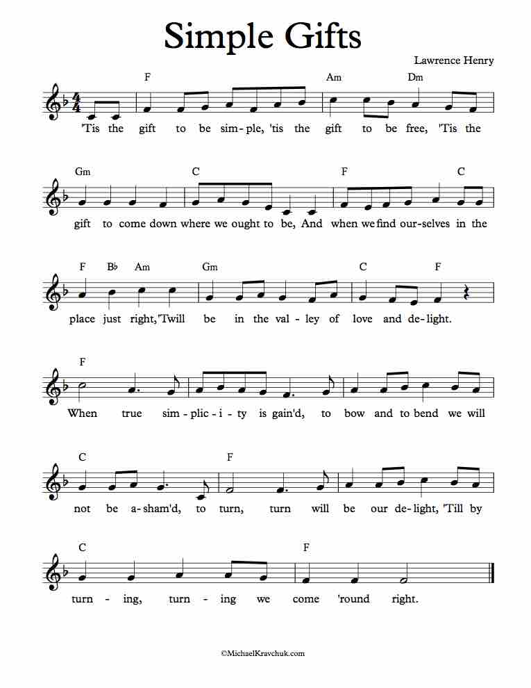 Free Sheet Music for Simple Gifts