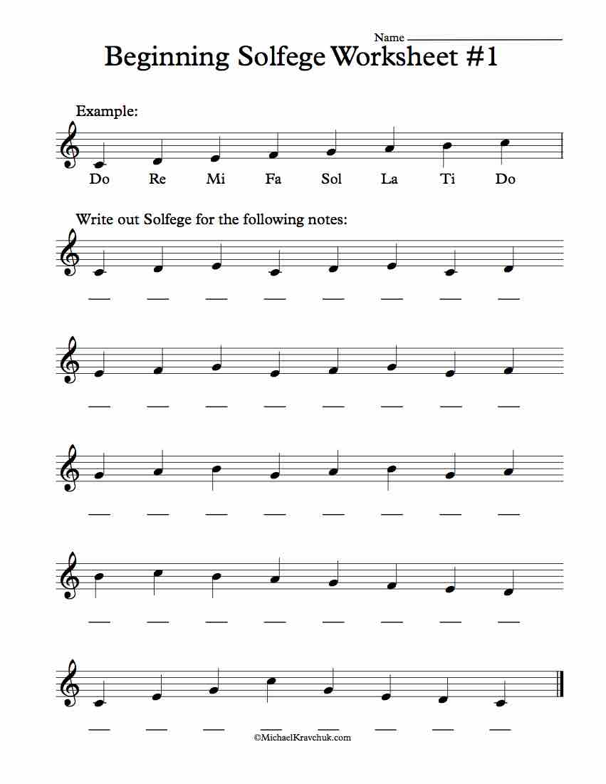 Beginning Worksheet #1 - Solfege Worksheets for Classroom Instruction