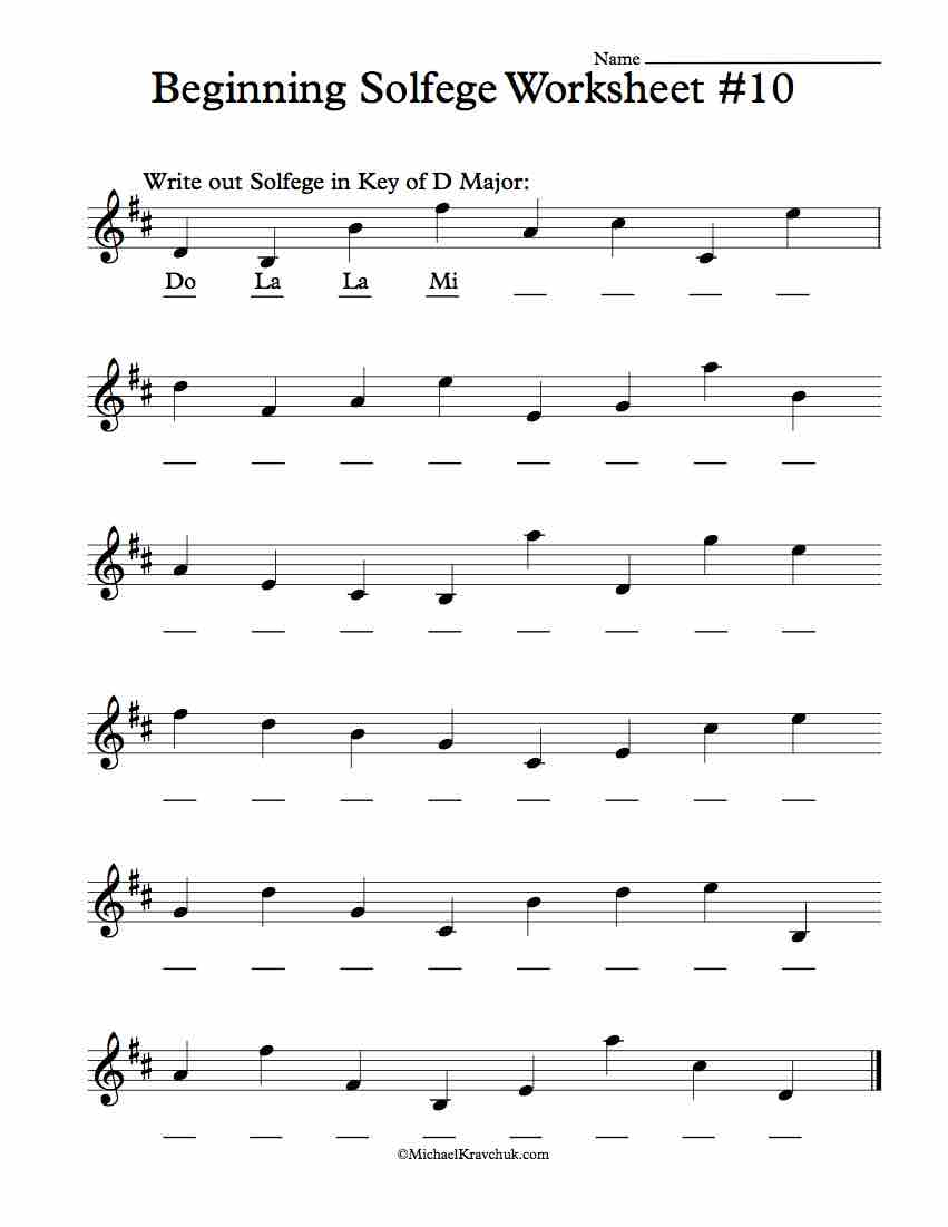 Worksheet #10 - Solfege Worksheets for Classroom Instruction