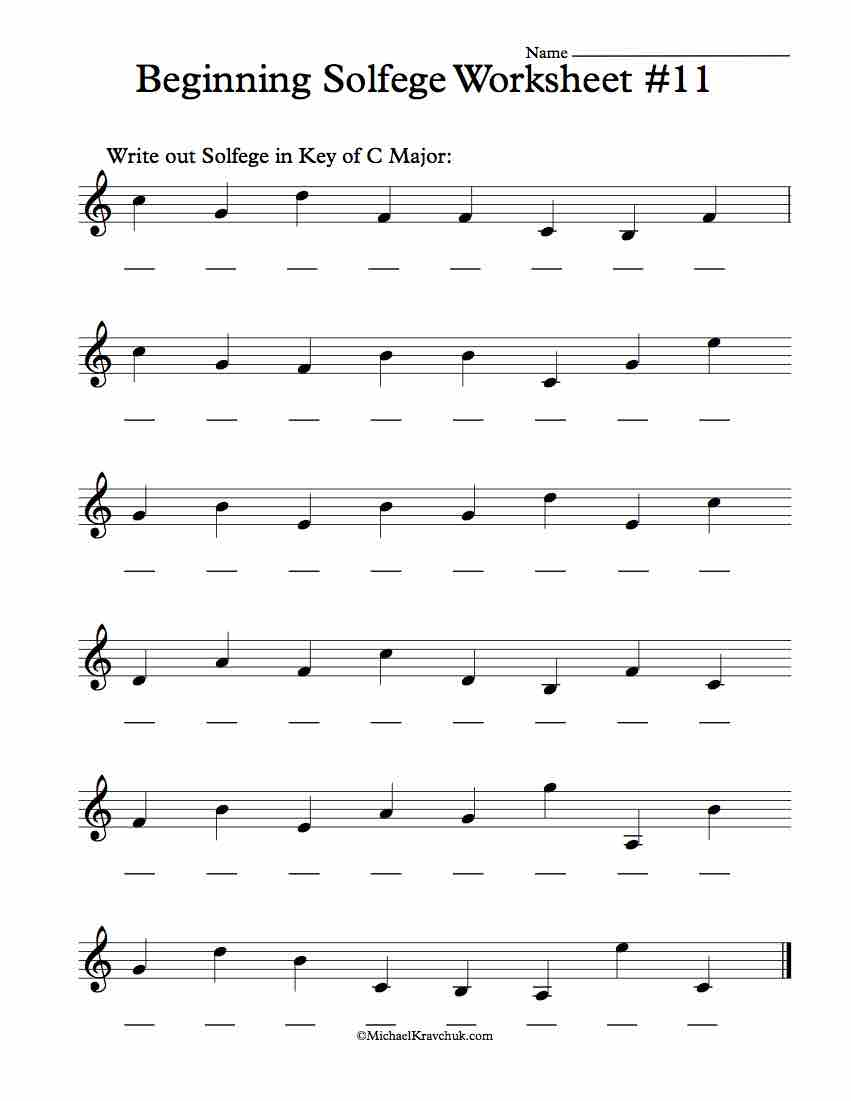 Worksheet #11 - Solfege Worksheets for Classroom Instruction