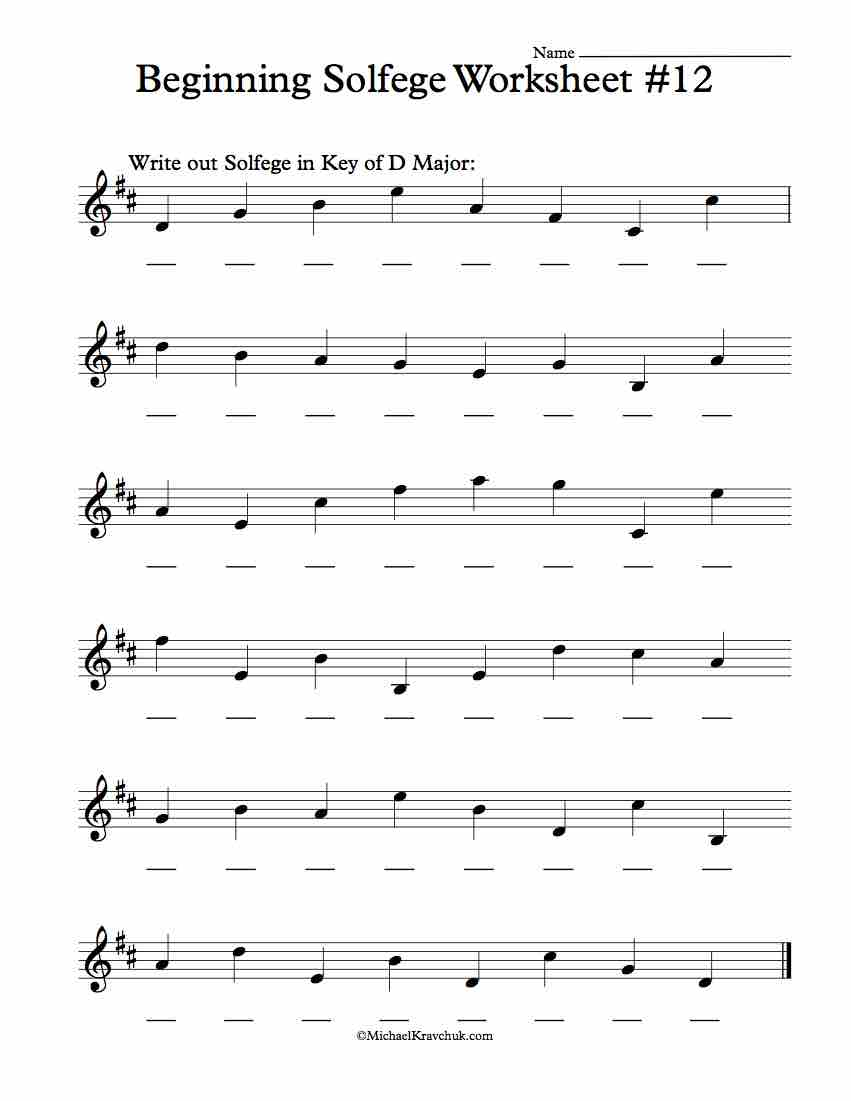 Worksheet #12 - Solfege Worksheets for Classroom Instruction