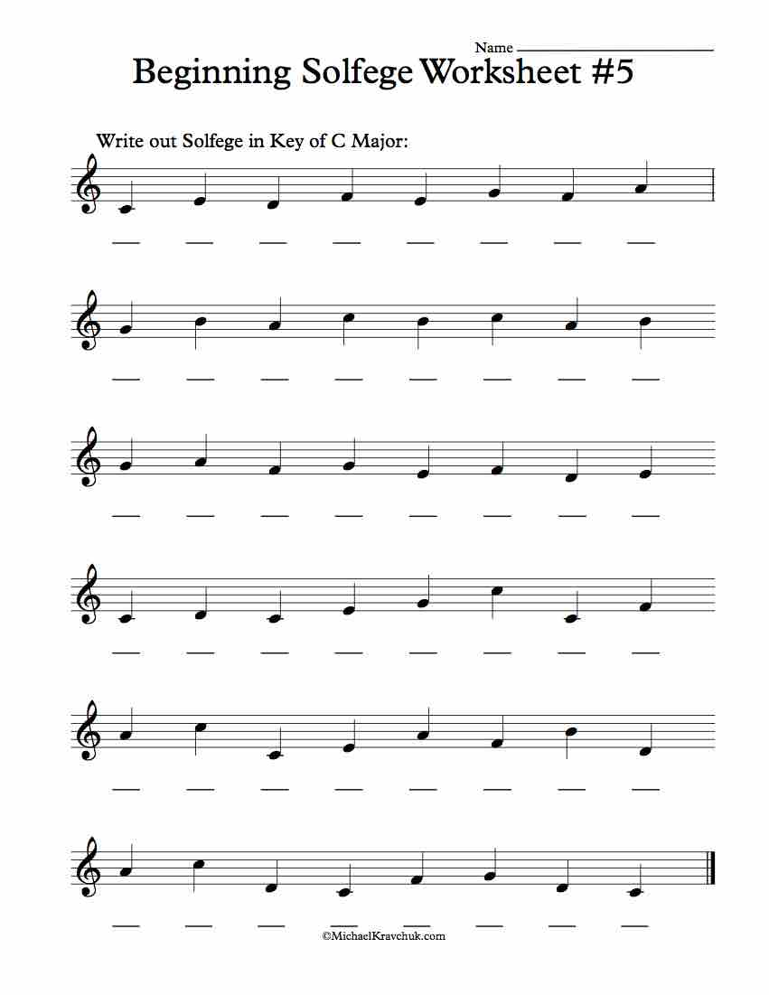 Beginning Worksheet #5 - Solfege Worksheets for Classroom Instruction