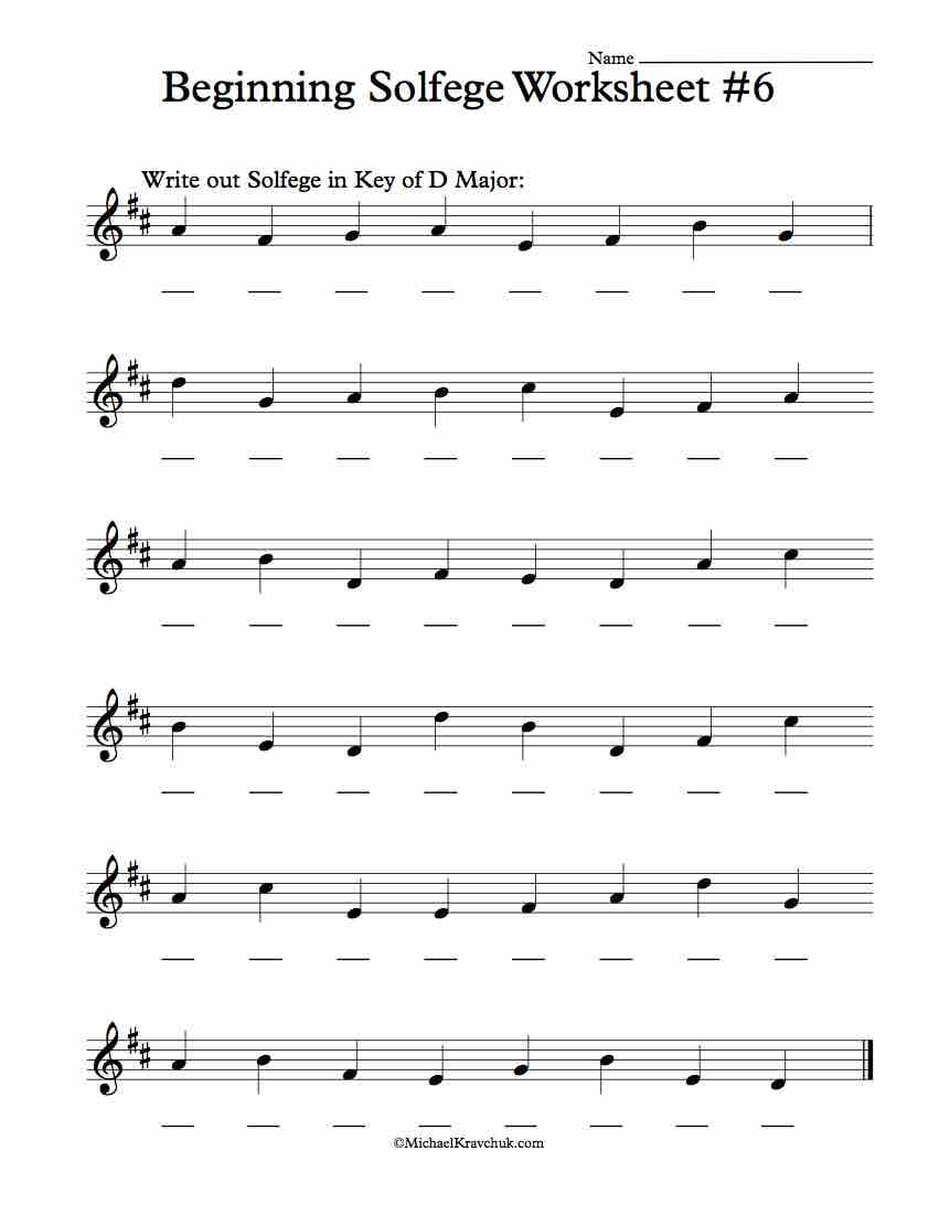 Beginning Worksheet #6 - Solfege Worksheets for Classroom Instruction