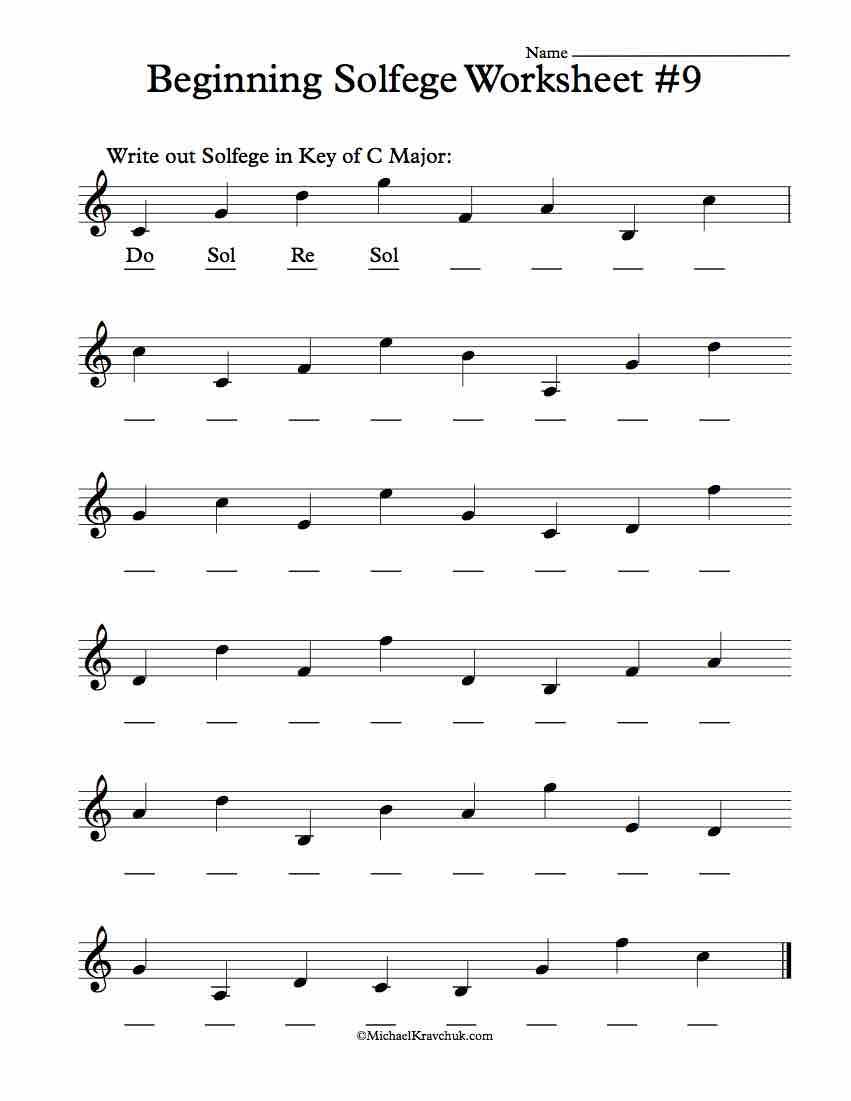 Worksheet #9 - Solfege Worksheets for Classroom Instruction