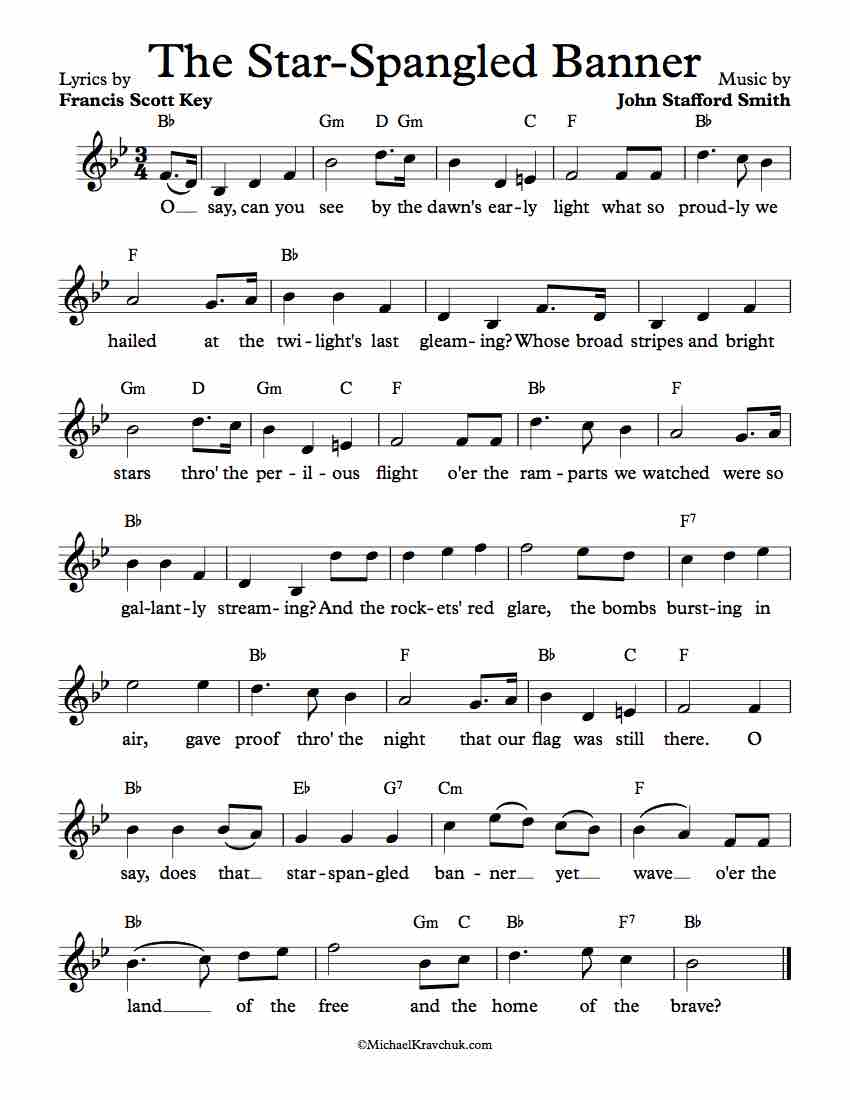 Free Lead Sheet The Star Spangled Banner Michael Kravchuk