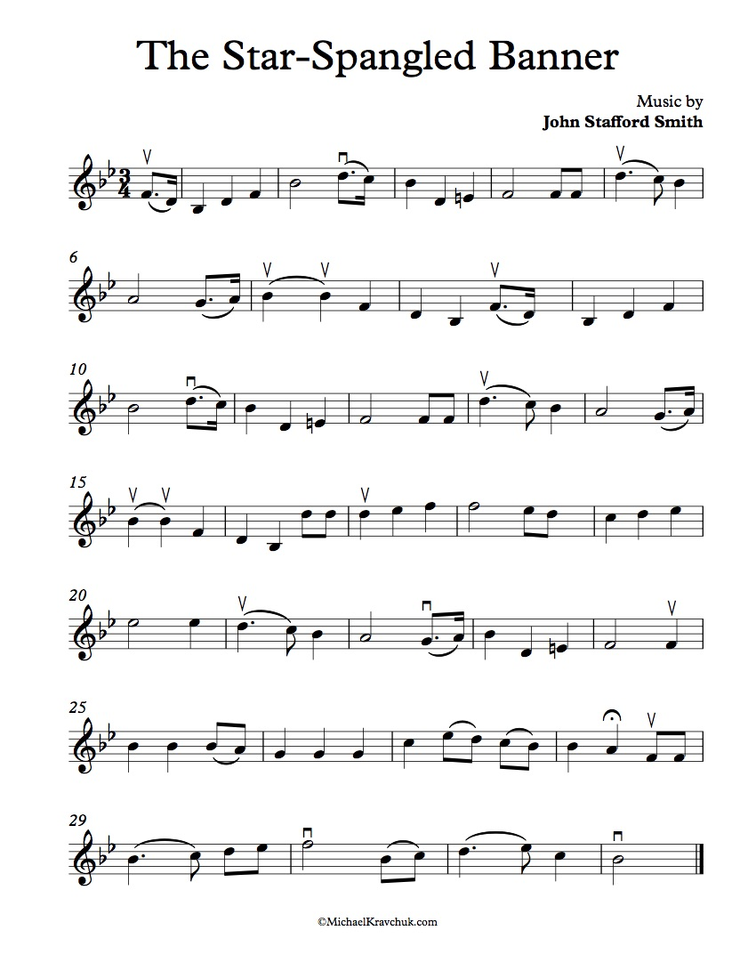 Free Violin Sheet Music – The Star-Spangled Banner – Michael