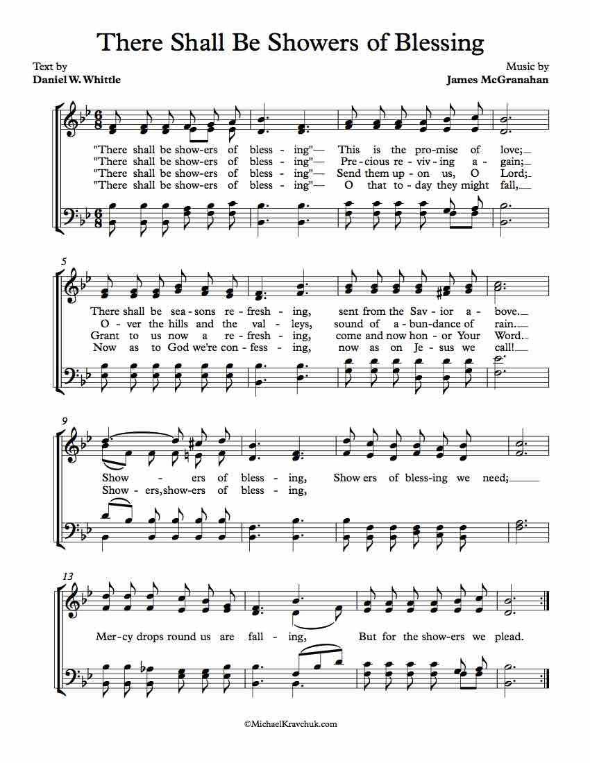 Free Sheet Music Choir - There Shall Be Showers Of Blessing