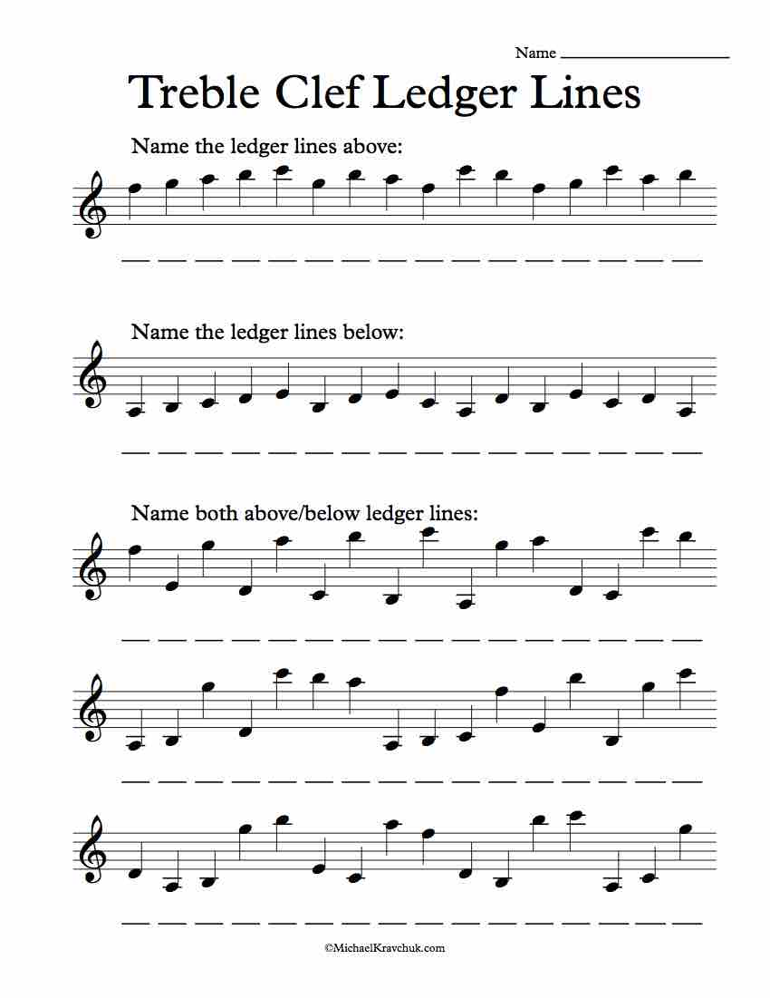Free Treble Clef Ledger Lines Note Recognition Worksheet