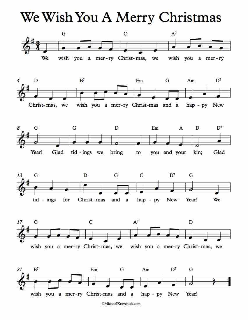 Christmas Music Sheets.Free Lead Sheet We Wish You A Merry Christmas Michael