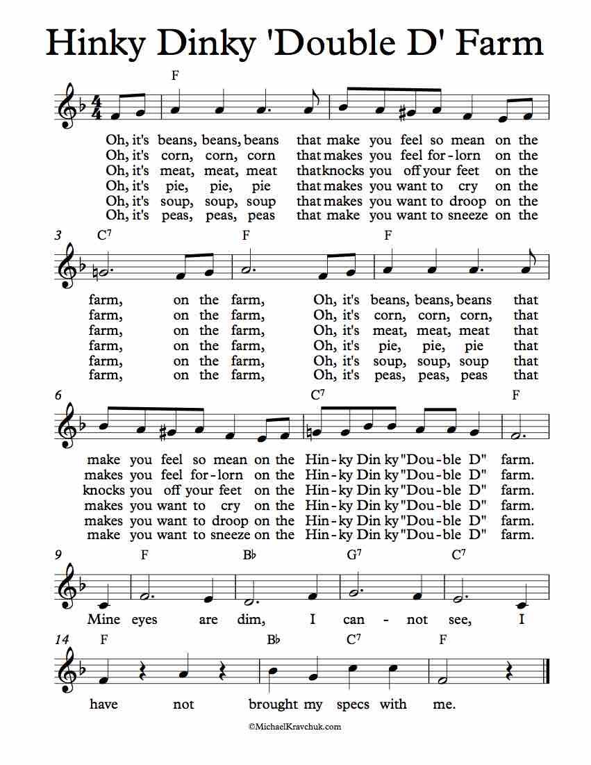 Free Lead Sheet - Hinky Dinky 'Double D' Farm