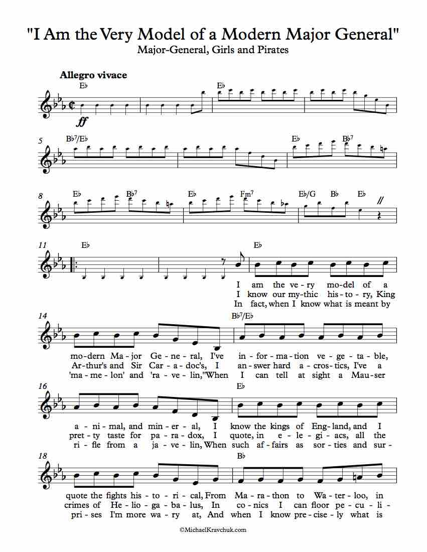 Free Lead Sheet - I Am the Very Model of a Modern Major General