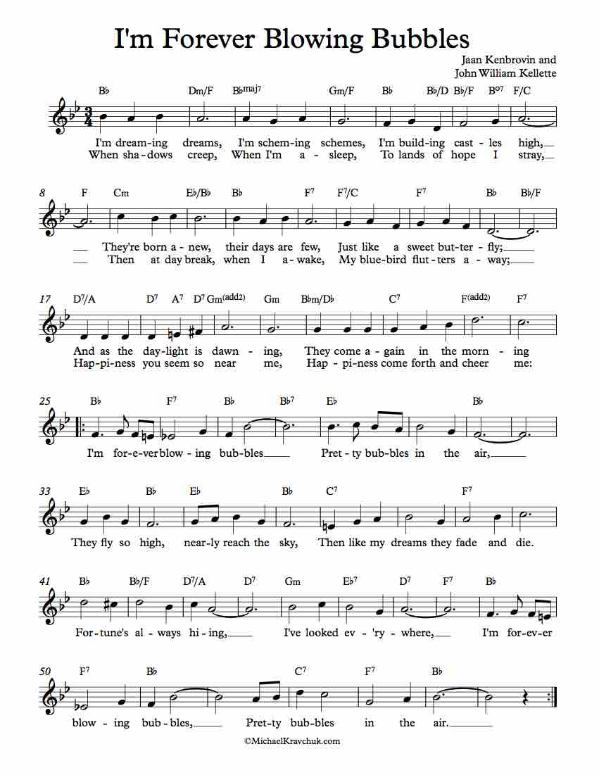 Free Lead Sheet - I'm Forever Blowing Bubbles