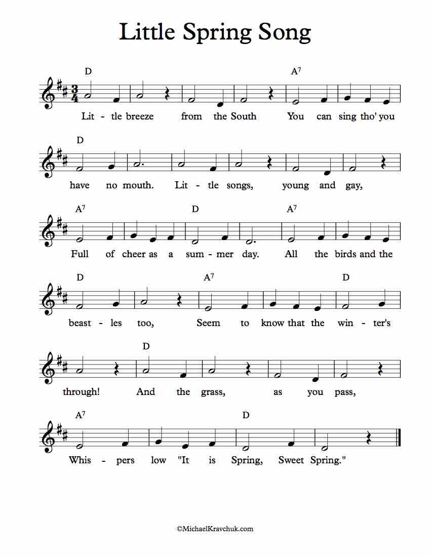 Free Lead Sheet - Little Spring Song