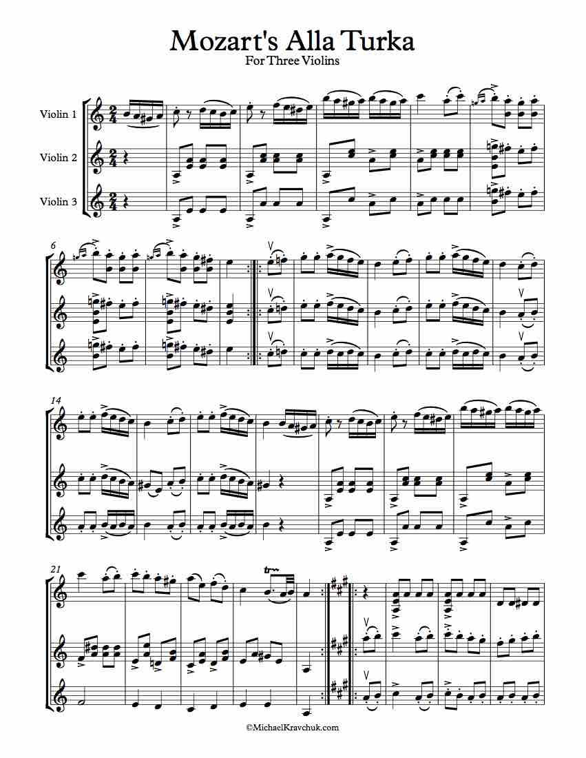 Alla Turka 3 Violins Sheet Music Violin A Major