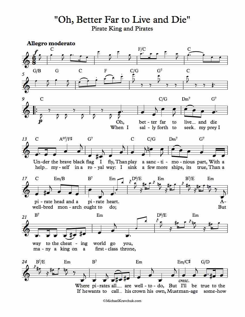 Free Lead Sheet - Oh, Better Far to Live and Die