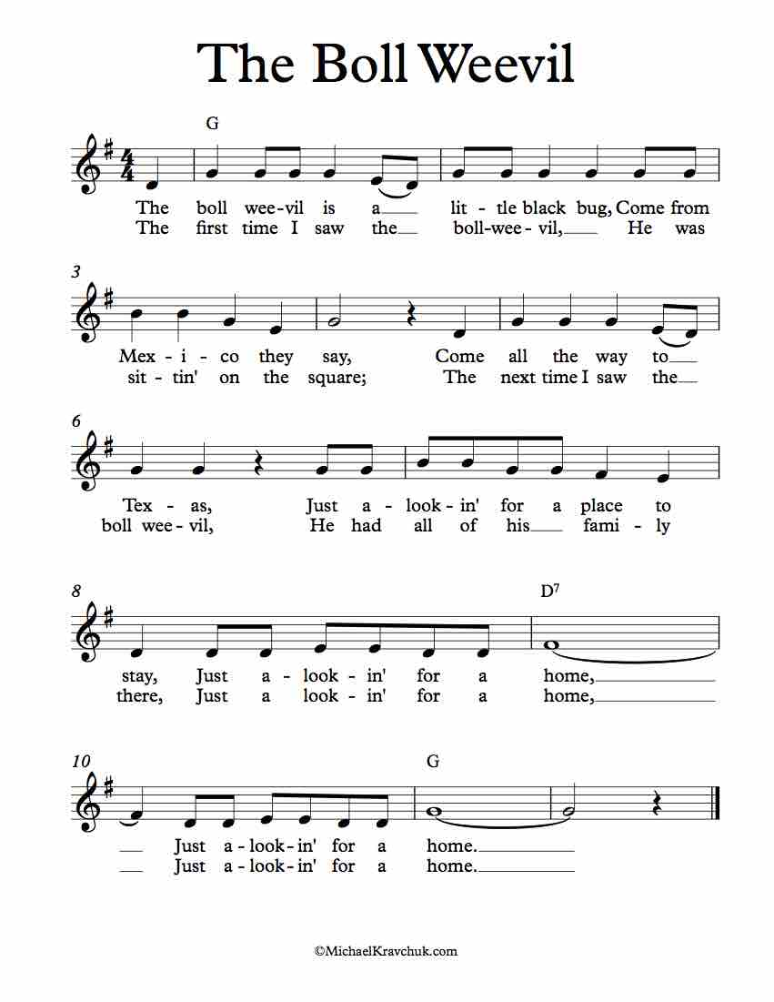 Free Lead Sheet - The Boll Weevil