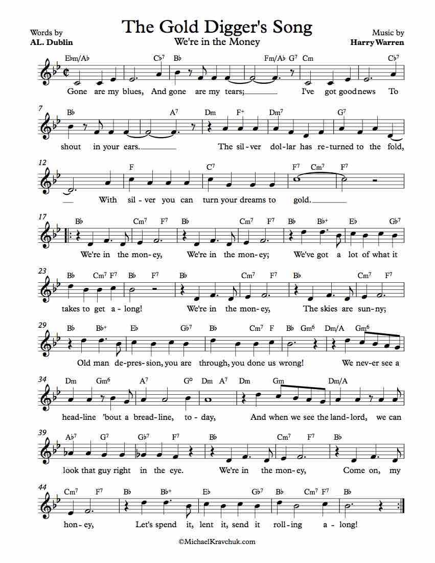 Free Lead Sheet - The Gold Digger's Song