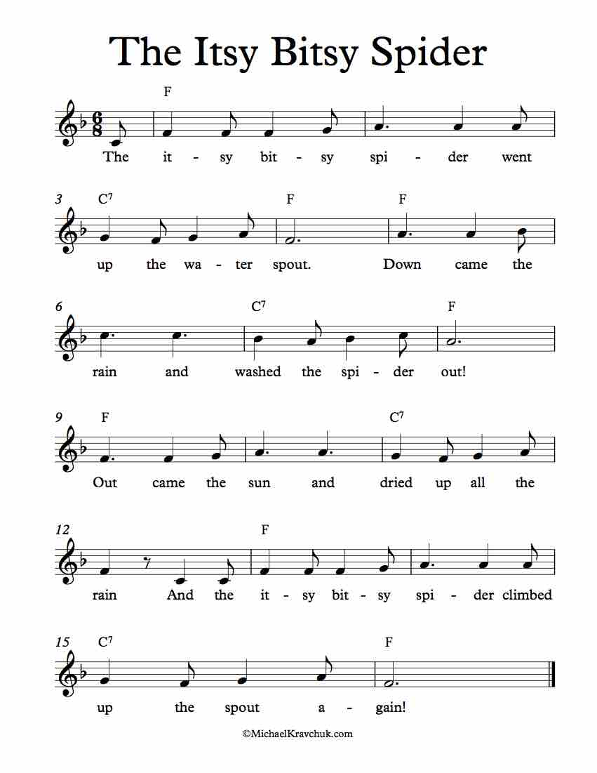 Free Lead Sheet - The Itsy Bitsy Spider