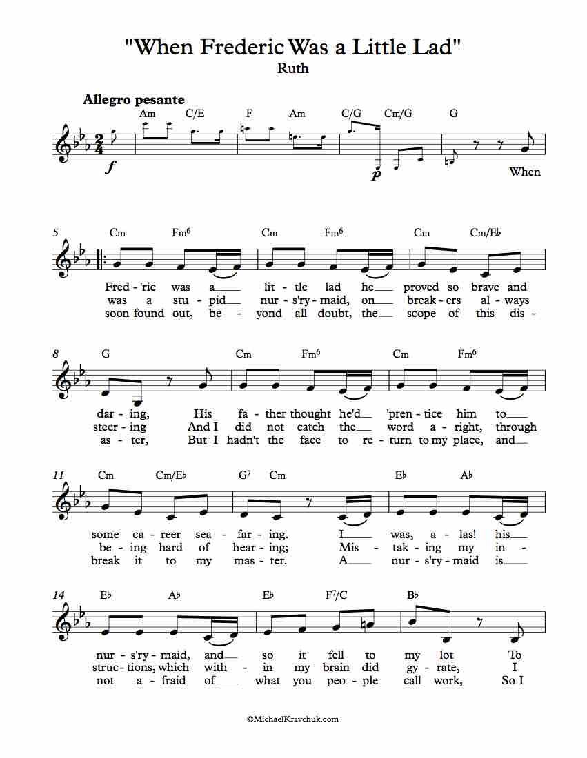 Free Lead Sheet - When Frederic Was a Little Lad