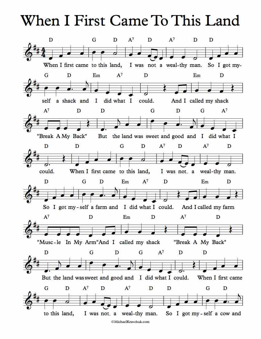 Free Lead Sheet - When I First Came To This Land