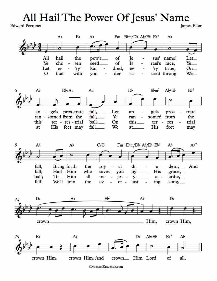 Free Lead Sheet - All Hail The Power Of Jesus' Name (Diadem)