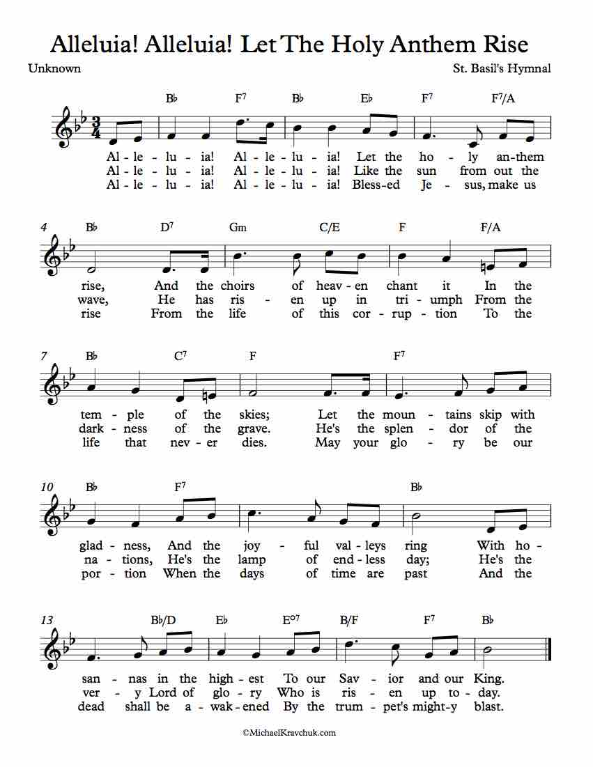 Free Lead Sheet - Alleluia! Alleluia! Let The Holy Anthem Rise