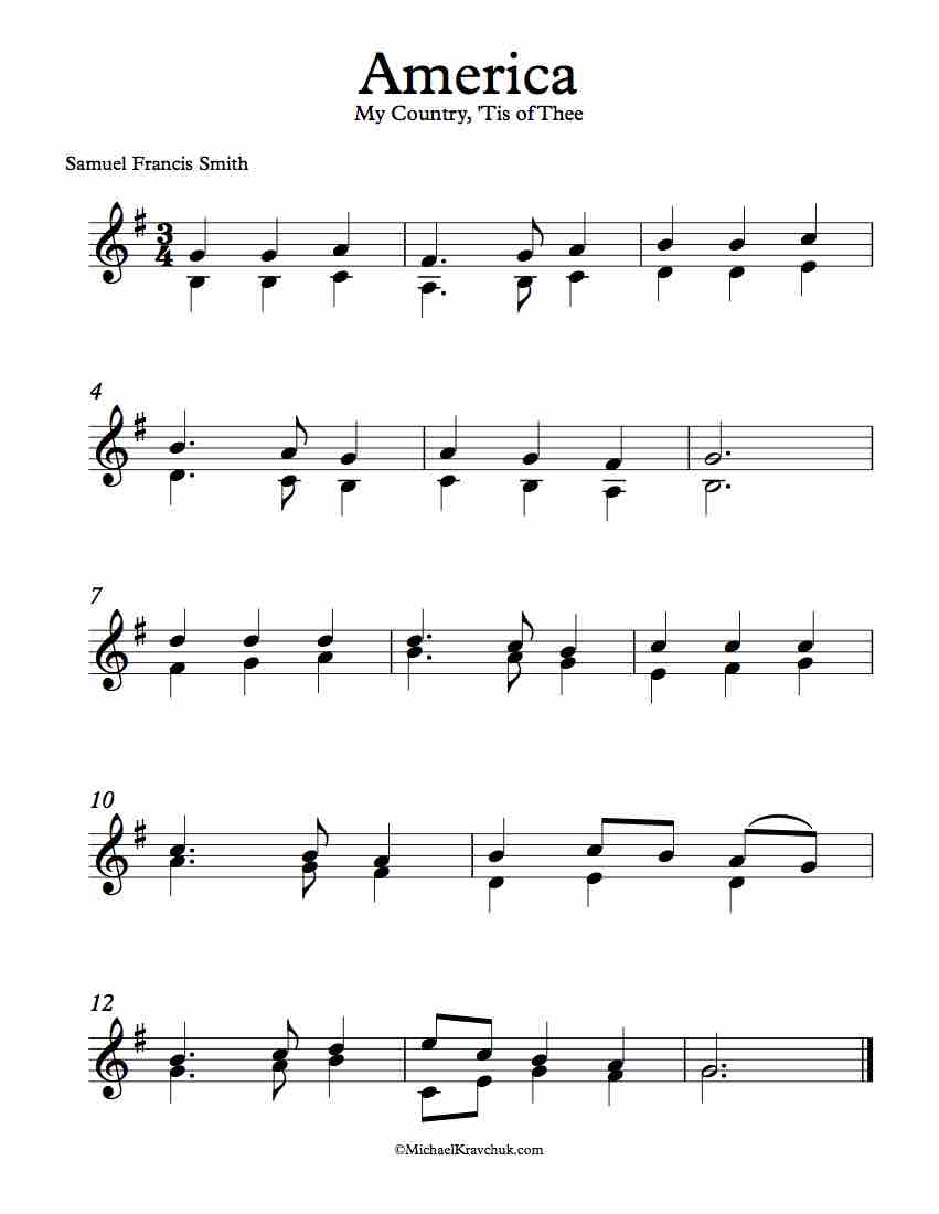 Free Violin Duet Sheet Music – America (My Country, 'Tis Of Thee