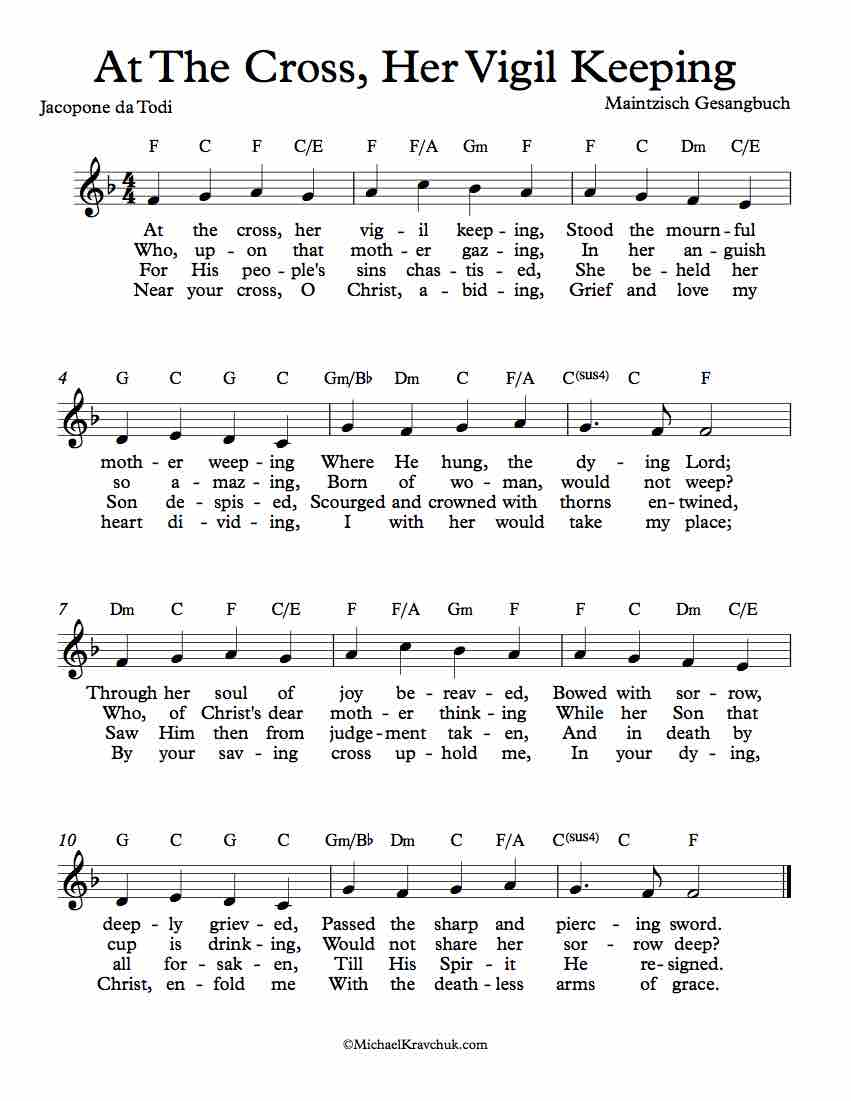 Free Lead Sheet - At The Cross, Her Vigil Keeping